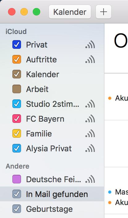 iCloud Kalender Reihenfolge in der Seitenleiste