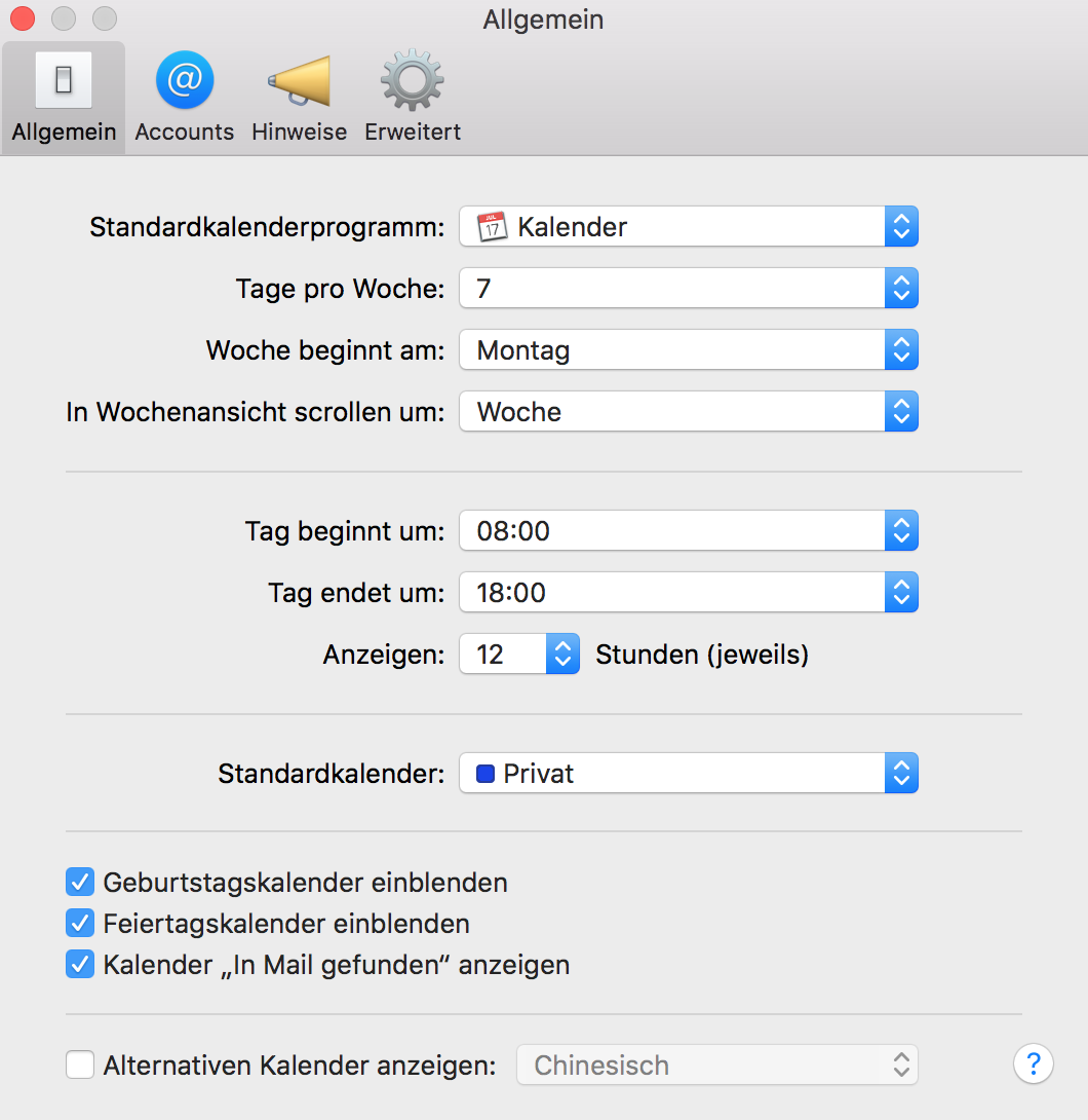 iCloud defaultcalender in the calendar-settings