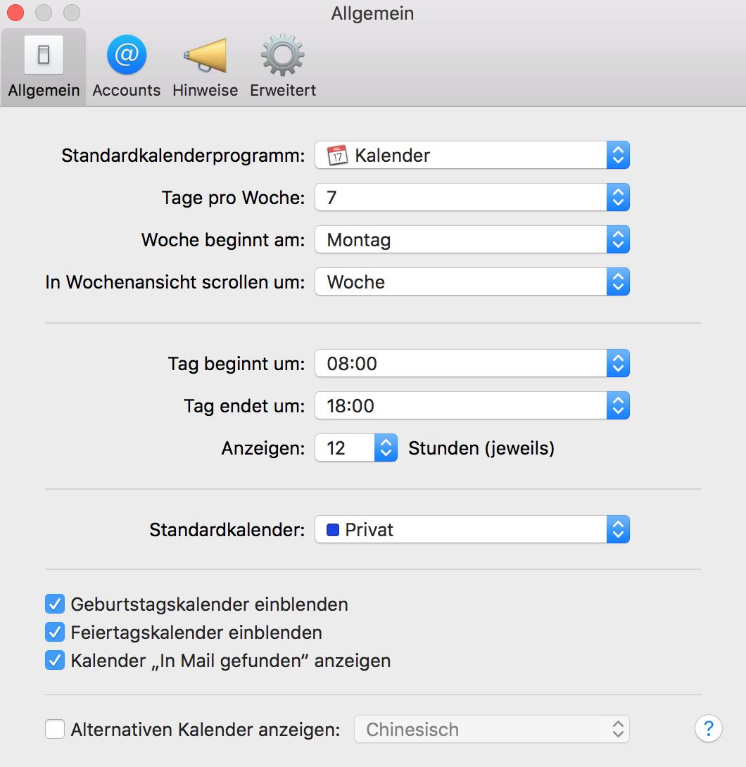 iCloud Standardkalender in den Kalender-Einstellungen