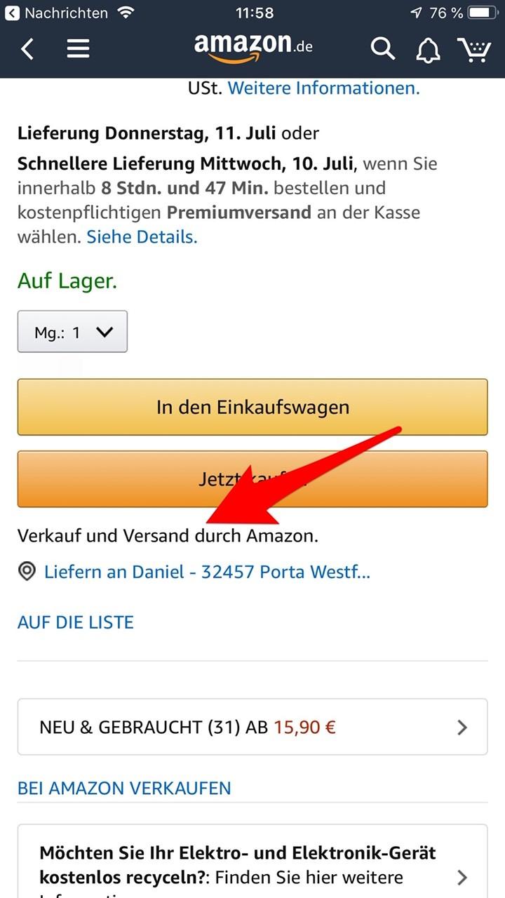 """Achtet unbedingt auf die Angabe """"Verkauf und Versand durch Amazon"""""""