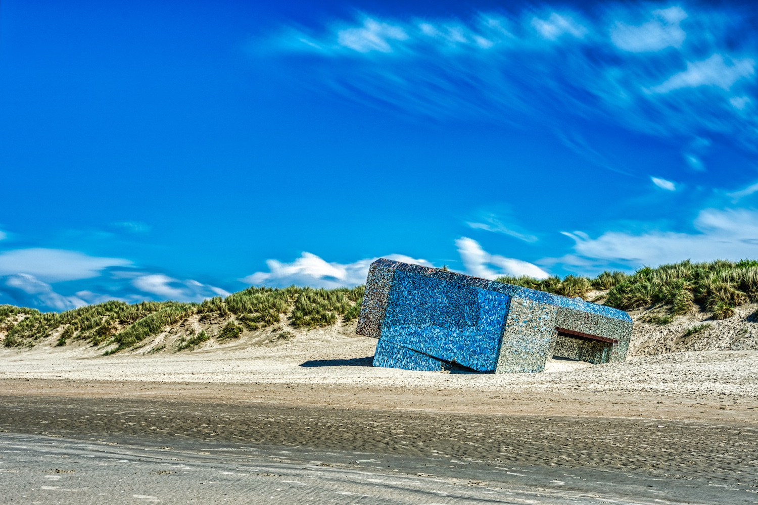 Mirrored bunker at the beach of Dunkerque
