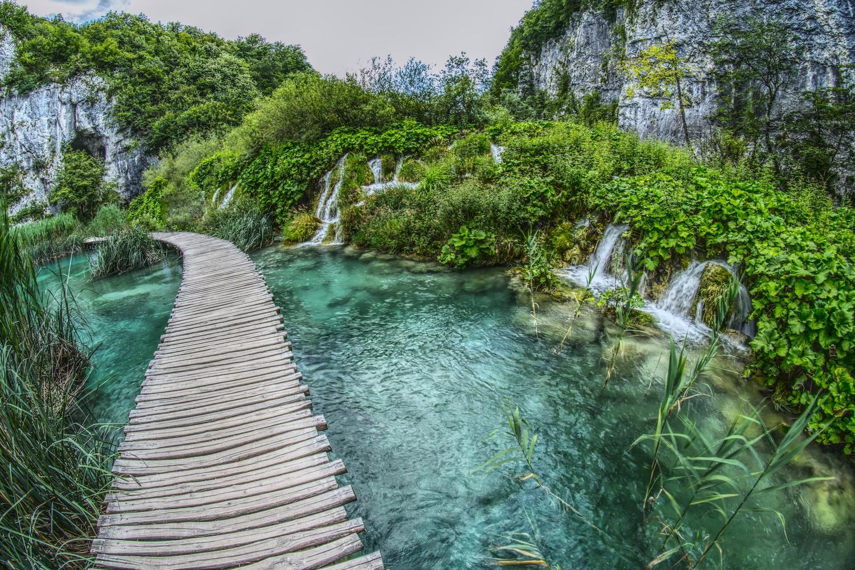 In Teilen des Nationalparks führen Blockbohlenwege die Besucher über das Wasser