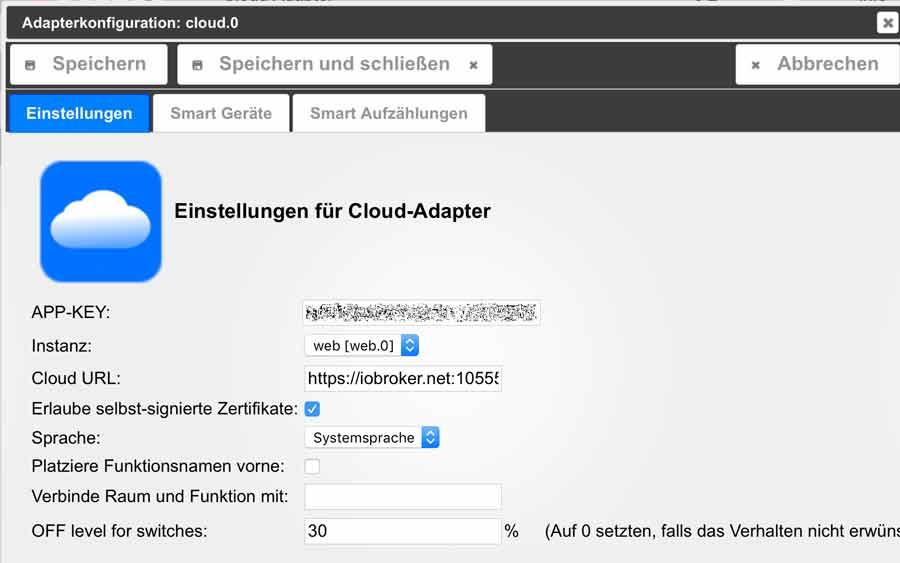 iobroker cloudadapter app config