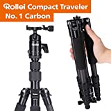 Rollei Compact Compact Traveler No I Carbon I Schwarz I Leichtes-Reisestativ I Foto-Stativ mit geringem Packmaß I Kugelkopf und...