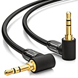 deleyCON 0,5m Klinkenkabel 3,5mm AUX Kabel Stereo Audio Kabel Klinkenstecker 90° gewinkelt für PC Laptop Handy Smartphone Tablet...