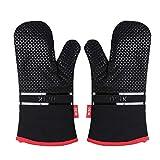 DEIK Ofenhandschuhe, Hitzebeständige Topflappen Handschuh, Lange Handschuhe, Silikon Anti-Rutsch Design, Geeignet für Kochen,...