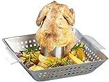 Rosenstein & Söhne Hähnchengrill: BBQ-Hähnchen-Griller mit Aroma-Behälter für ganze Hähnchen (Hähnchengriller mit...