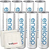 8er Pack Panasonic Eneloop AA/Mignon Akkus - Neueste Generation - Hochleistungs Akku Batterien in Kraftmax Akkuboxen V5