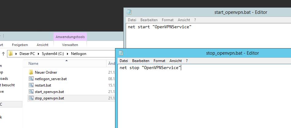 Open VPN Dienst ohne Benutzeranmeldung auf Windows Server starten
