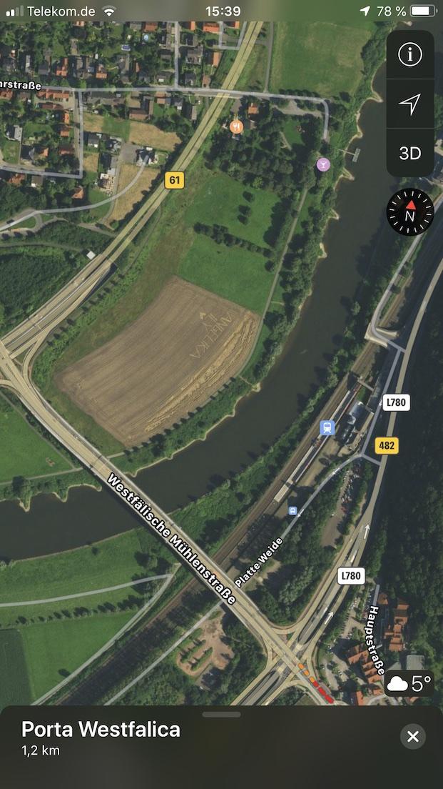 Liebesgrüße in einem Kornfeld bei der Weserbrücke