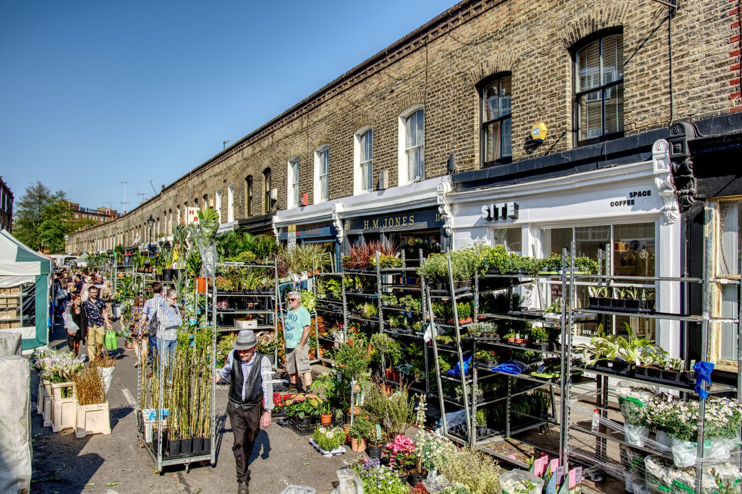 Columbia Road Flower Market traders pack their stands