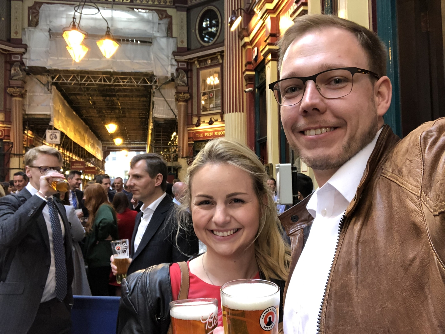 "Beer and cider in the pub ""The Lamb Tavern"" in the Leadenhall Market"