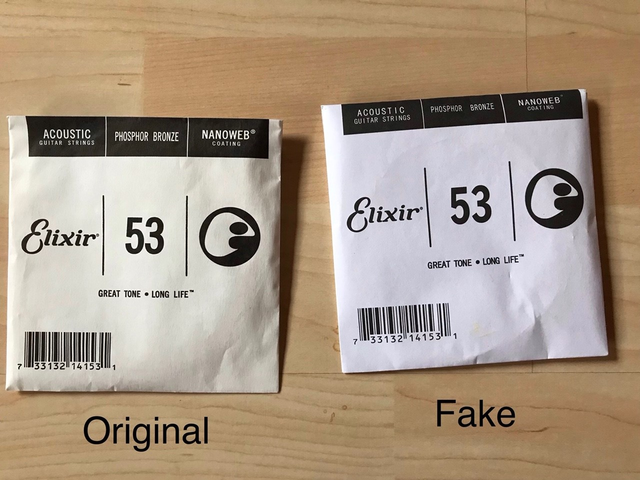 Beware of counterfeiting: Elixir Nanoweb guitar strings fakes at Amazon Marketplace