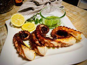 Roasted octopus with parmesan basil pesto