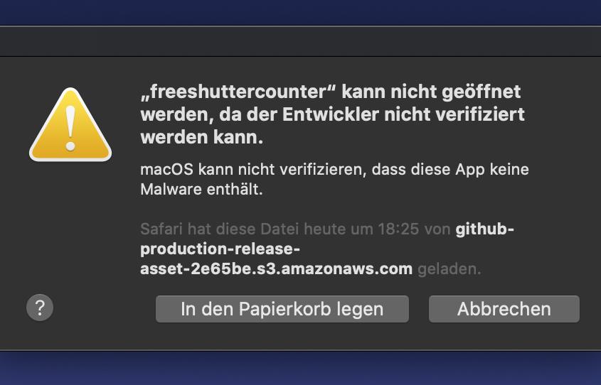 """Was bedeutet das? """"Anwendung kann nicht geöffnet werden, da der Entwickler nicht verifiziert werden kann"""""""