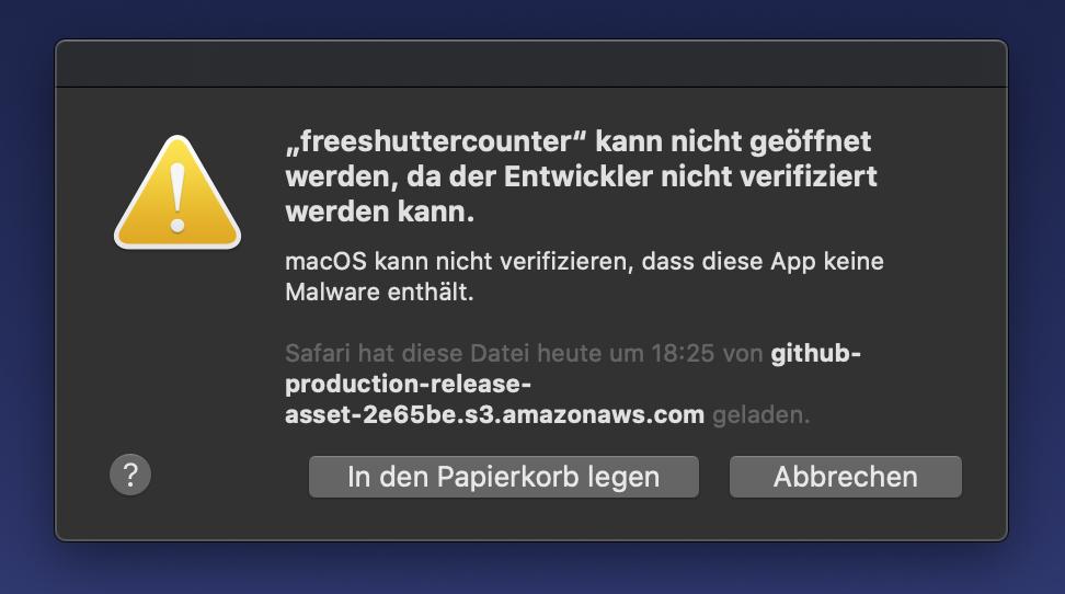 Anwendung kann nicht gestartet werden, da der Entwickler nicht verifiziert werden kann.