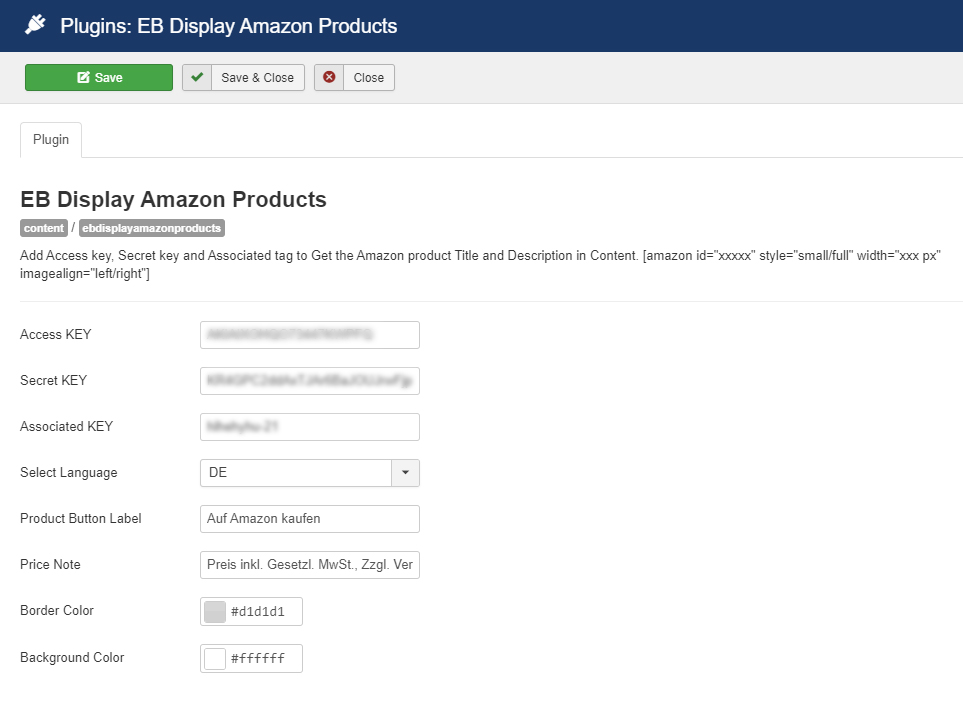 The configuration page of EB Display Amazon Products.