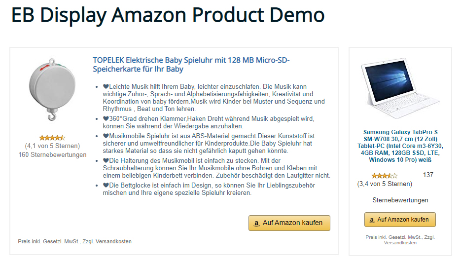 Output of the EB Display Amazon Products plugin.