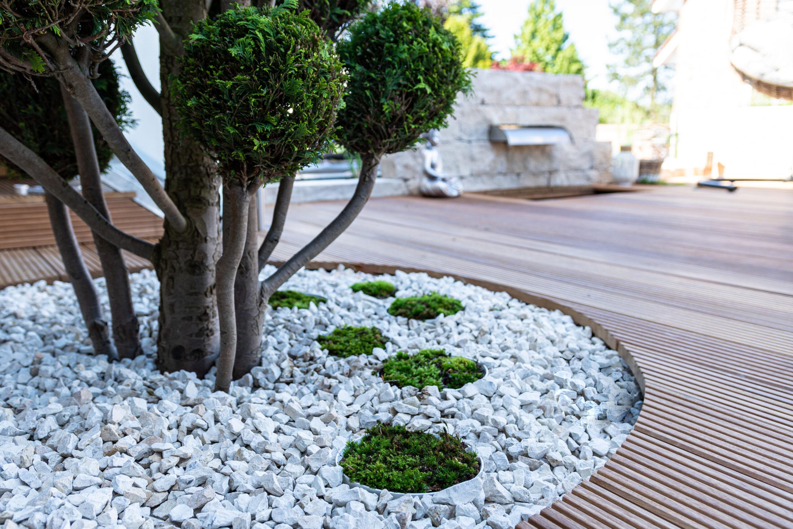 Elemente aus echtem, lebendem Ziermoos lockern die Steinbereiche der Terrasse auf.