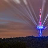 Illumination Fernsehturm Porta Westfalica – Bilder aller Farbkombinationen