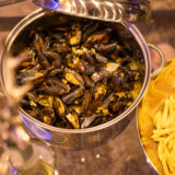 Mussels in white wine cream stock (Moules Frites)