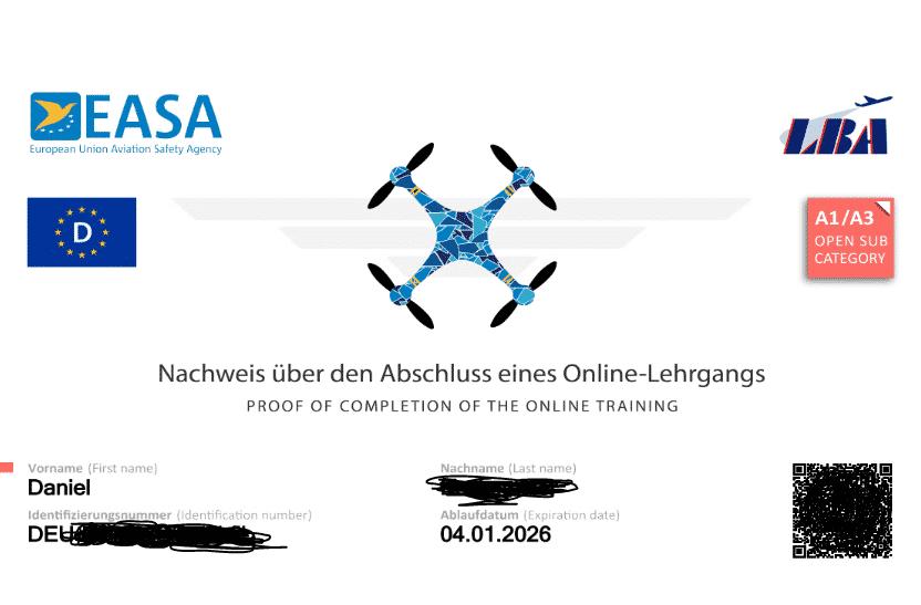Beispieldarstellung des Nachweises für Fernpiloten von Drohnen in der EU