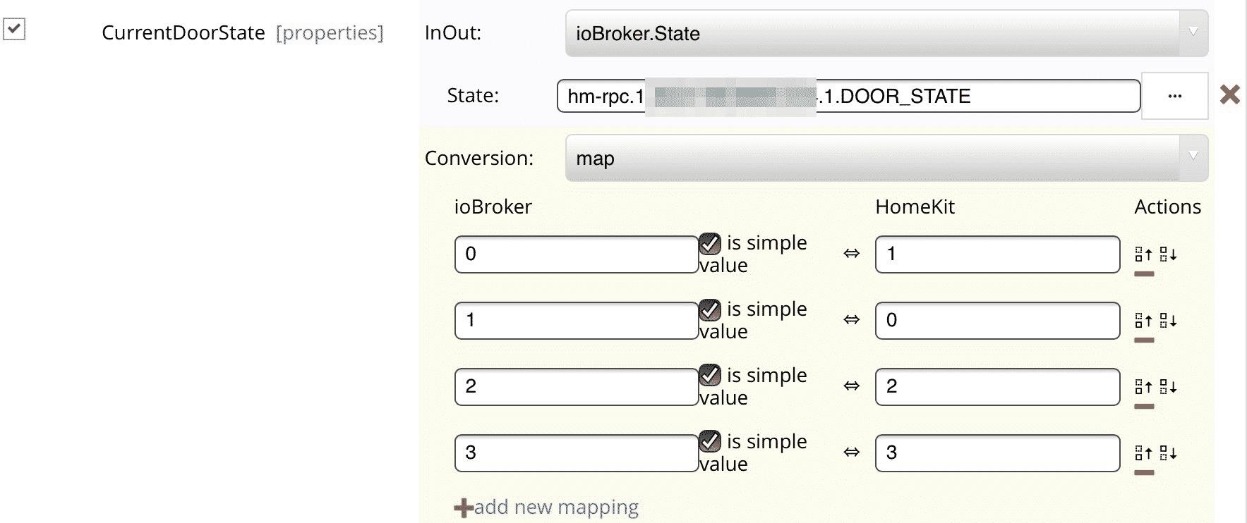 Einstellungen für HMIP-MOD-HO zu CurrentDoorState in Yahka.