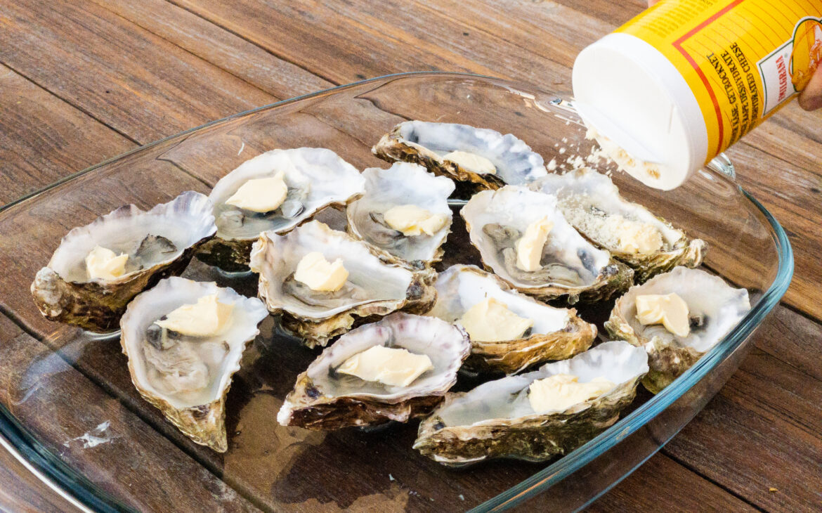 Dump a good amount of Parmesan cheese on the oysters. A lot helps a lot.
