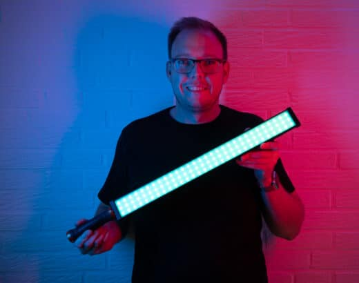 Rollei Lumen LED stick used for lighting at photoshooting or video shooting - whether in white or colour mode.